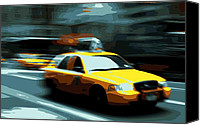 Speeding Taxi Canvas Prints - NYC Taxi Color 16 Canvas Print by Scott Kelley
