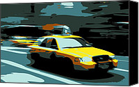 Speeding Taxi Canvas Prints - NYC Taxi Color 6 Canvas Print by Scott Kelley