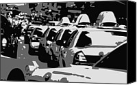 Speeding Taxi Canvas Prints - NYC Traffic BW3 Canvas Print by Scott Kelley