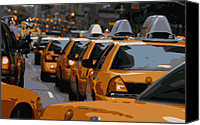Speeding Taxi Canvas Prints - NYC Traffic Color 16 Canvas Print by Scott Kelley