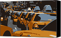 Speeding Taxi Canvas Prints - NYC Traffic Color 6 Canvas Print by Scott Kelley