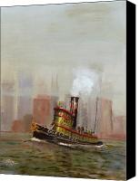 Urban Landscape Canvas Prints - NYC Tug Canvas Print by Christopher Jenkins
