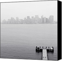 Nyc Photo Canvas Prints - NYC View from Liberty Island Canvas Print by Nina Papiorek