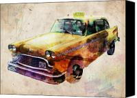 Cities Digital Art Canvas Prints - NYC Yellow Cab Canvas Print by Michael Tompsett