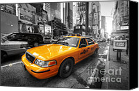 Selective Color Canvas Prints - NYC Yellow Cab Canvas Print by Yhun Suarez