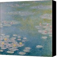 Water Lily Canvas Prints - Nympheas at Giverny Canvas Print by Claude Monet