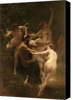 Bouguereau; William-adolphe (1825-1905) Canvas Prints - Nymphs and Satyr Canvas Print by William Adolphe Bouguereau
