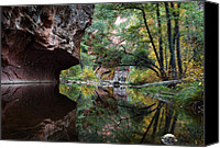 Desert Southwest Canvas Prints - Oak Creek Canyon Reflections Canvas Print by Dave Dilli