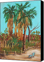 Palm Trees Pastels Canvas Prints - Oasis Canvas Print by Anastasiya Malakhova