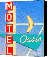 Hotels Digital Art Canvas Prints - Oasis Motel Tulsa Oklahoma Canvas Print by Wingsdomain Art and Photography