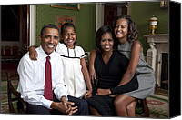 Politics Photo Canvas Prints - Obama Family Official Portrait By Annie Canvas Print by Everett