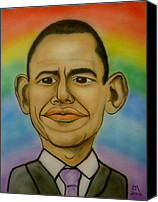 Portrait Barack Obama Canvas Prints - Obama Rainbow Canvas Print by Pete Maier