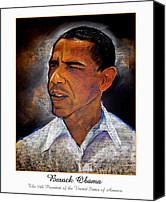 The White House Pastels Canvas Prints - Obama. The 44th President. Canvas Print by Fred Makubuya