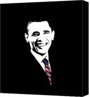 Democrats Digital Art Canvas Prints - Obama Canvas Print by War Is Hell Store
