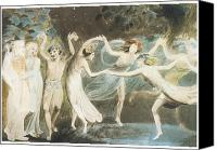 Puck Canvas Prints - Oberon Titania and Puck with Fairies Dancing Canvas Print by William Blake
