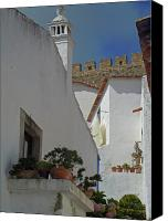 Middle Ages Digital Art Canvas Prints - Obidos Portugal Walkway Canvas Print by Heather Coen