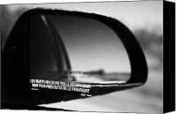 Wing Mirror Canvas Prints - objects in mirror are closer than they appear in french on car side window on highway Canada Canvas Print by Joe Fox