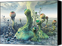 3d Graphic Canvas Prints - Observation Canvas Print by Jutta Maria Pusl
