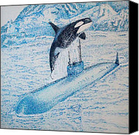 Whale Pastels Canvas Prints - Observing nature A Canvas Print by John Fierro