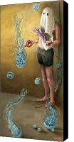 Jellyfish Painting Canvas Prints - Obsessively Canvas Print by Tommy De Yampert