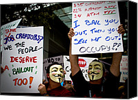 Bail Out Canvas Prints - Occupiers and Their Signs Canvas Print by Andres Leon