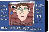 Fb Canvas Prints - Occupy Frivolous Lawsuits Cartoon Canvas Print by Yasha Harari