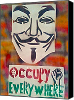 Conscious Painting Canvas Prints - Occupy Mask Canvas Print by Tony B Conscious