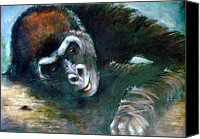 Gorilla Painting Canvas Prints - OCD Gorilla Canvas Print by Mo McGee