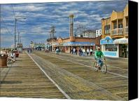 New Jersey Canvas Prints - Ocean City Boardwalk Canvas Print by Edward Sobuta