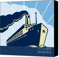 Illustration Canvas Prints - Ocean liner boat Canvas Print by Aloysius Patrimonio