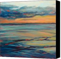 Donna Shortt Painting Canvas Prints - Ocean Sunset Canvas Print by Donna Shortt