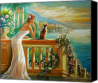 Lady With Cat Canvas Prints - Ocean View Canvas Print by Gina Femrite