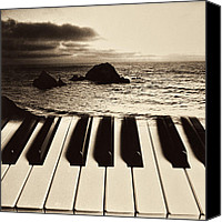 Wave Canvas Prints - Ocean washing over keyboard Canvas Print by Garry Gay