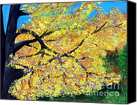 Indiana Autumn Canvas Prints - October Fall Foliage Canvas Print by Alys Caviness-Gober