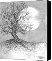 Holiday Drawings Canvas Prints - October Moon Canvas Print by Adam Zebediah Joseph