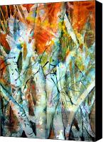 Woods Drawings Canvas Prints - October Woods Canvas Print by Mindy Newman