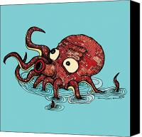 Featured Drawings Canvas Prints - Octopus - Color Canvas Print by Karl Addison