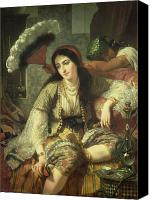 Orientalist Canvas Prints - Odalisque Canvas Print by Jean Baptiste Ange Tissier