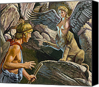 Ancient Greece Painting Canvas Prints - Oedipus encountering the Sphinx Canvas Print by Roger Payne