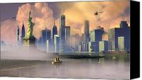 Cities Digital Art Canvas Prints - Of Stone and Steel Canvas Print by Dieter Carlton