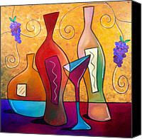 Wine Drawings Canvas Prints - Off The Vine Canvas Print by Tom Fedro - Fidostudio