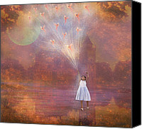 Storybook Mixed Media Canvas Prints - Off To Fairy Land - By Way Of Fairyloons Canvas Print by Carrie Jackson