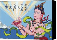 Thangka Canvas Prints - Offering Goddess with mantra Om Mani Padme Hum Canvas Print by Carmen Mensink