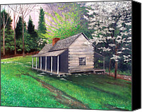 Log Cabins Canvas Prints - Ogle Homestead Gatlinburg Tn Canvas Print by Herb Dickinson