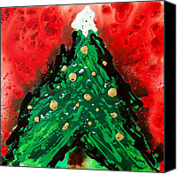 Christmas Painting Canvas Prints - Oh Christmas Tree Canvas Print by Sharon Cummings
