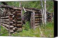 Log Cabins Canvas Prints - Oh Home Near Mine Canvas Print by Cynthia Cox Cottam