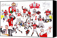 Brutus Canvas Prints - Ohio State Collage Canvas Print by Gerard  Schneider Jr