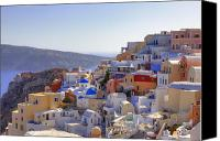 Panoramic Canvas Prints - Oia - Santorini Canvas Print by Joana Kruse