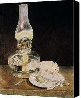Oil Lamp Canvas Prints - Oil Lamp and Tea Cup Canvas Print by Timothy Theis
