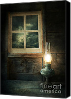 Cabin Window Canvas Prints - Oil Lamp on Table by Window Canvas Print by Jill Battaglia